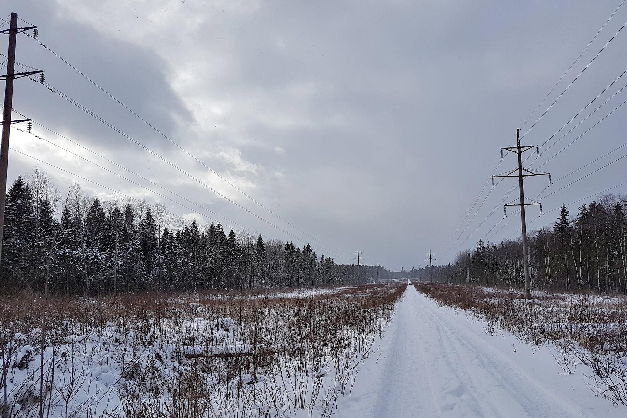 Вскоре дорога выходит под ЛЭП