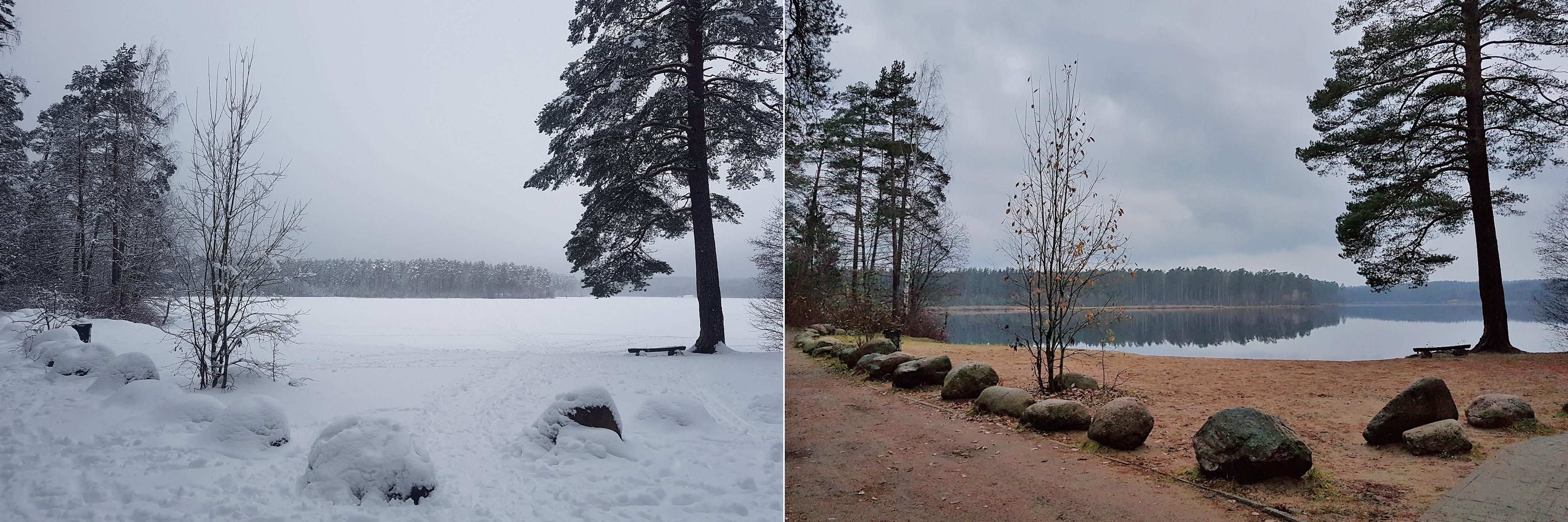 Щучье озеро осенью и зимой
